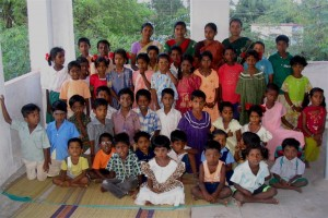 Dalit children and teachers at Poonjeri Tuition Center