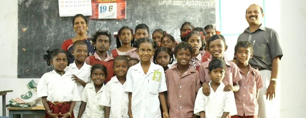 Some of the children of the school with the two teachers
